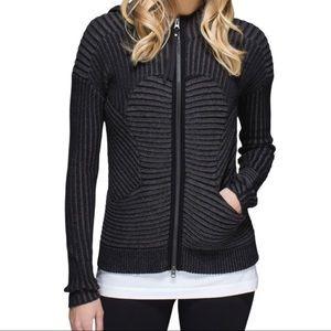 Lululemon Women's Embrace Hoodie *Knit Black Heathered Dark Grey Size 10 W4G04S